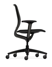HON Purpose Upholstered Seat Task Chair Centurion Black Color Adjustable Arms Side View HR1S.A.BLK.H.ON.CU10.T