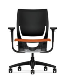 HON Purpose Upholstered Seat Task Chair Centurion Tangerine Color Adjustable Arms Front View HR1S.ABLK.H.ON.CU46.T