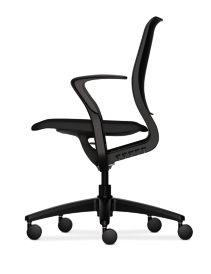HON Purpose Upholstered Seat Task Chair Centurion Black Color Fixed Arms Side View HR1S.F.BLK.H.ON.CU10.T