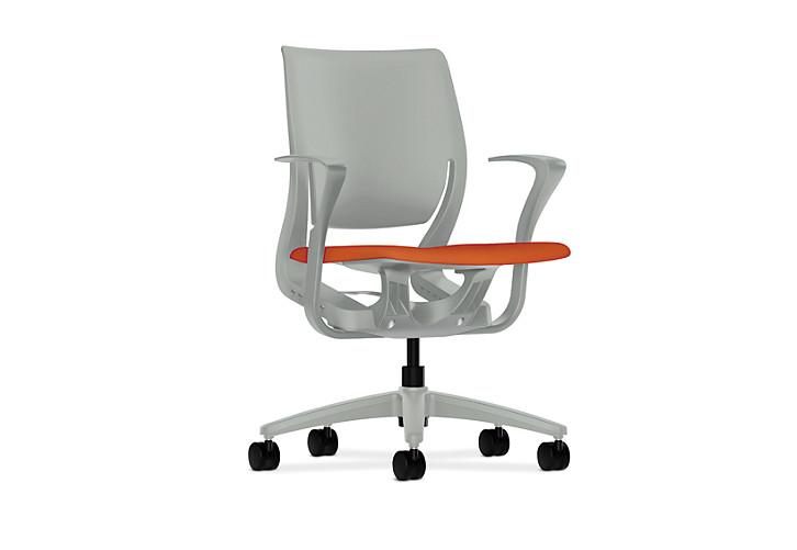 HON Purpose Upholstered Seat Task Chair Centurion Tangerine Color Platinum Frame Color Fixed Arms Front Side View HR1S.F.PLT.H.PT.CU46.PLAT