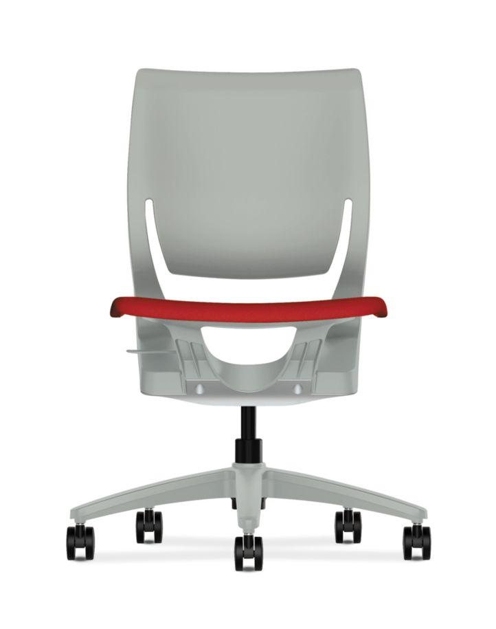 HON Purpose Upholstered Seat Task Chair Centurion Tomato Color Platinum Frame Color Armless Front View HR1S.H.PT.CU66.PLAT
