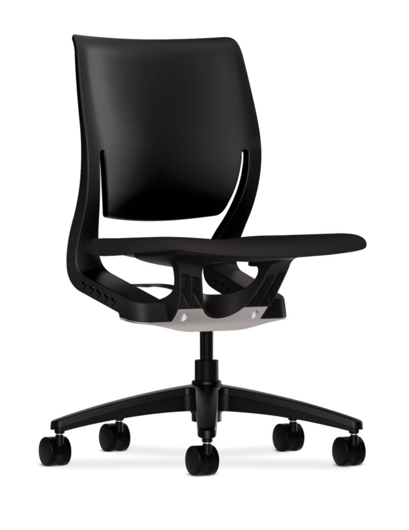 HON Purpose Upholstered Seat Task Chair Centurion Black Color Armless Front Side View HR1S.N.H.ON.CU10.T