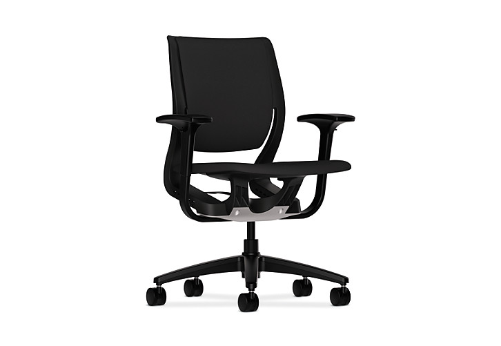 HON Purpose Upholstered Task Chair Centurion Black Color Adjustable Arms Front Side View HR1W.ABLK.H.ON.CU10.T