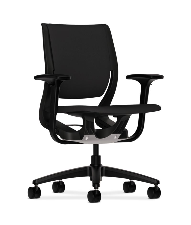 HON Purpose Upholstered Task Chair Centurion Black Color Adjustable Arms Front Side View HR1W.ABLK.H.ON.CU10.T
