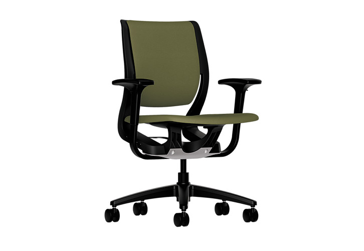 HON Purpose Upholstered Task Chair Centurion Olivine Color Adjustable Arms Front Side View HR1W.ABLK.H.ON.CU82.T