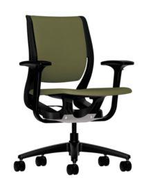 HON Purpose Upholstered Task Chair Centurion Olivine Color Adjustable Arms Front Side View HR1W.ABLK.H.ON.CU82.T