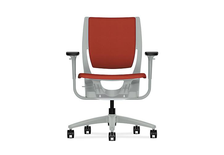 HON Purpose Upholstered Task Chair Centurion Poppy Color Platinum Frame Color Adjustable Arms Front View HR1W.APLT.H.PT.CU42.PLAT