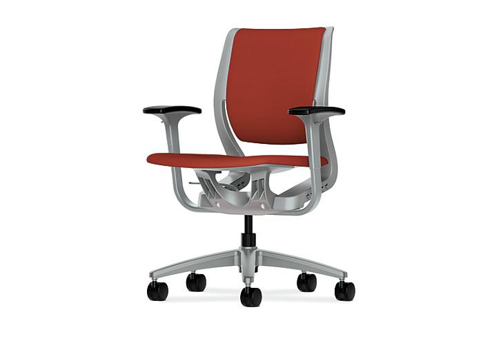 HON Purpose Upholstered Task Chair Centurion Poppy Color Platinum Frame Color Adjustable Arms Front Side View HR1W.APLT.H.PT.CU42.PLAT