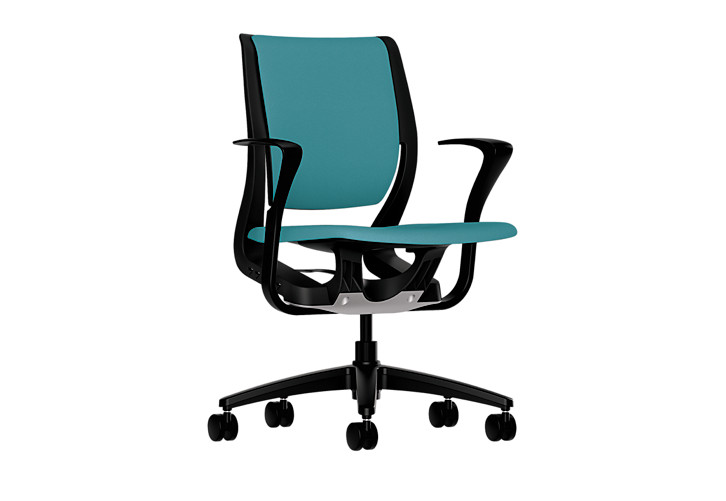 HON Purpose Upholstered Task Chair Centurion Glacier Color Fixed Arms Front Side View HR1W.FBLK.H.ON.CU96.T