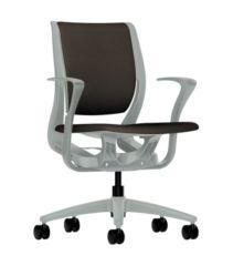 HON Purpose Upholstered Task Chair Centurion Espresso Color Platinum Frame Color Fixed Arms Front Side View HR1W.FPLT.H.PT.CU49.PLAT