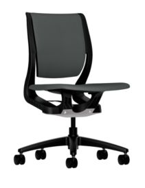 HON Purpose Upholstered Task Chair Centurion Iron Ore Color Armless Front Side View HR1W.ABLK.H.ON.CU19.T