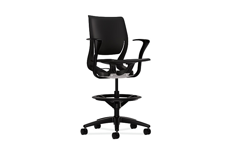 HON Purpose Task Stool Black Fixed Arms Front Side View HR5P.FBLK.H.ON.T