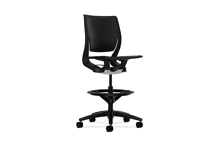 HON Purpose Task Stool Black Armless Front Side View HR5P.H.ON.T
