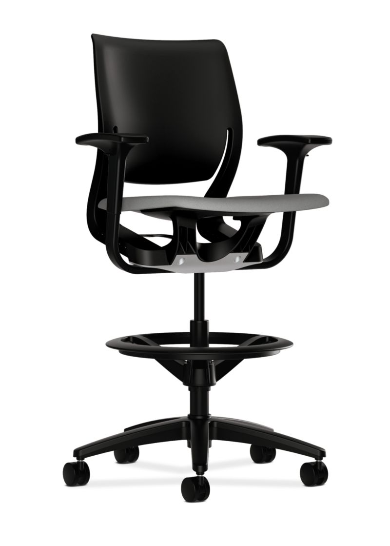HON Purpose Upholstered Seat Task Stool Centurion Frost Adjustable Arms Front Side View HR5S.ABLK.H.ON.CU22.T