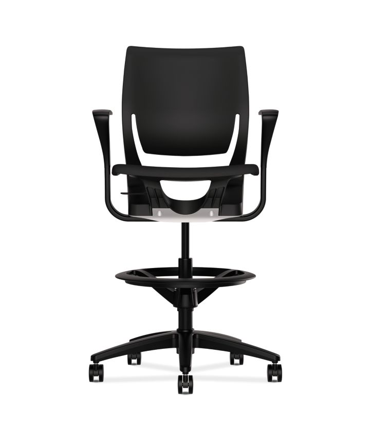 HON Purpose Upholstered Seat Task Stool Centurion Black Fixed Arms Front View HR5S.F.BLK.H.ON.CU10.T