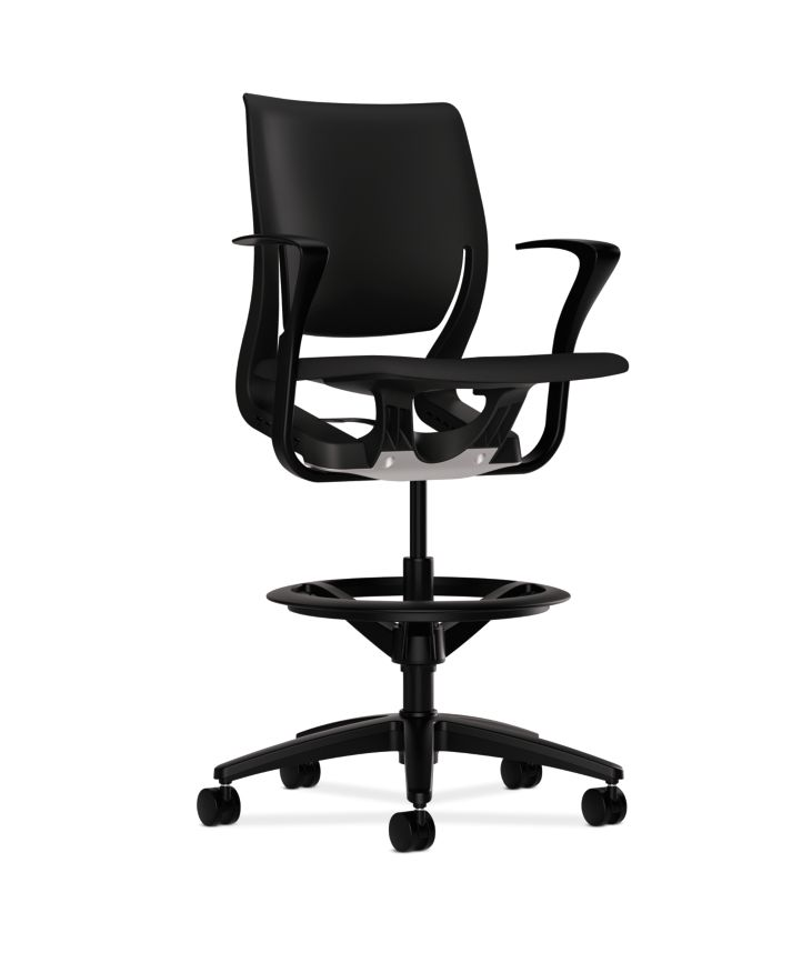 HON Purpose Upholstered Seat Task Stool Centurion Black Fixed Arms Front Side View HR5S.F.BLK.H.ON.CU10.T