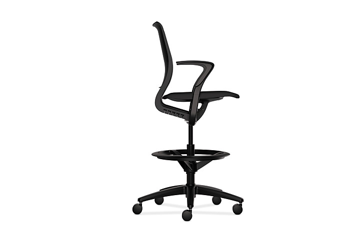 HON Purpose Upholstered Seat Task Stool Centurion Black Fixed Arms Side View HR5S.F.BLK.H.ON.CU10.T