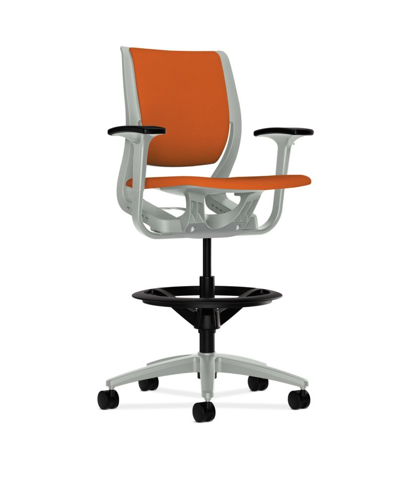 HON Purpose Upholstered Task Stool Centurion Tangerine Platinum Adjustable Arms Front Side View HR5W.APLT.H.PT.CU46.PLAT