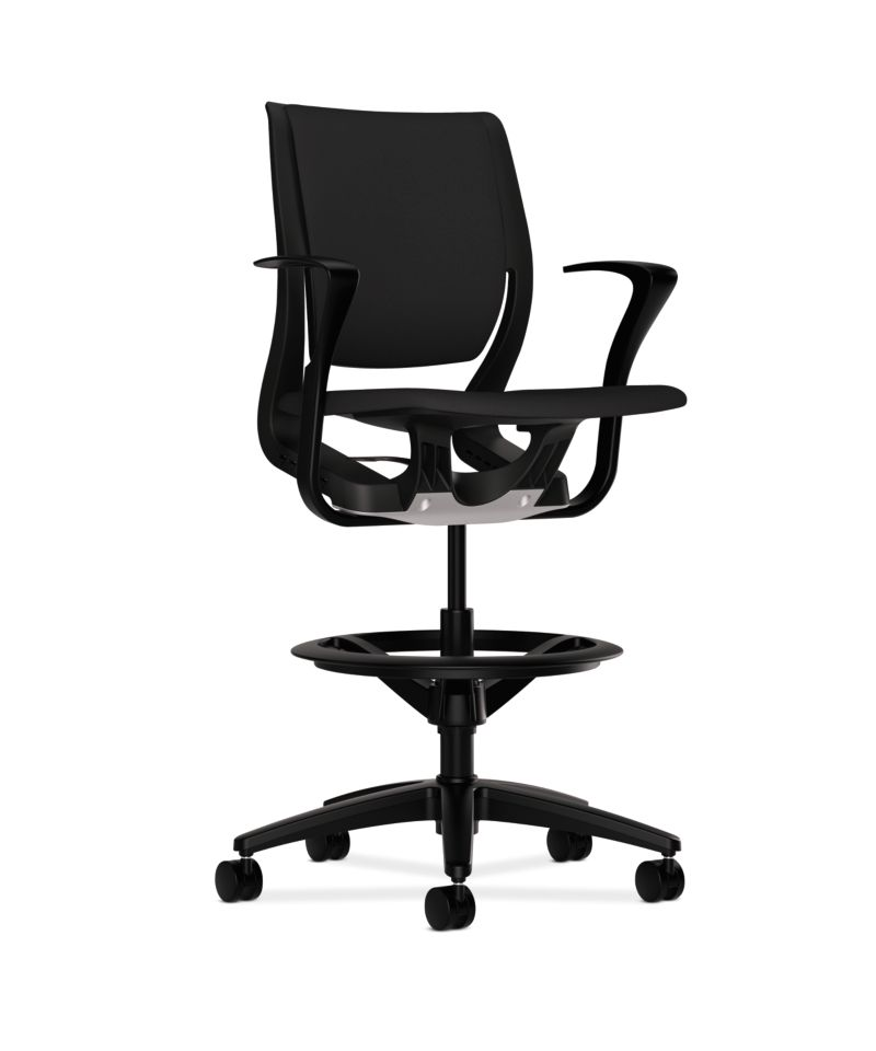 HON Purpose Upholstered Task Stool Centurion Black Onyx Adjustable Arms Front Side View HR5W.F.BLK.H.ON.CU10.T