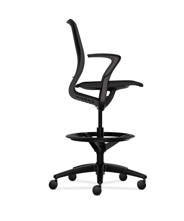 HON Purpose Upholstered Task Stool Centurion Black Onyx Adjustable Arms Side View HR5W.F.BLK.H.ON.CU10.T