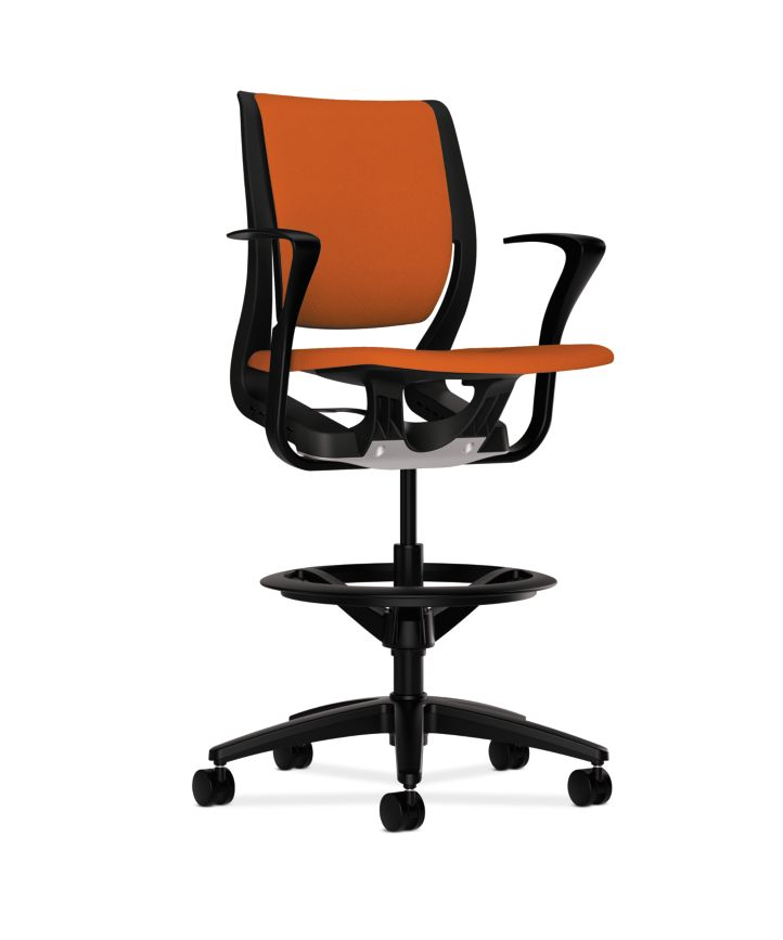 HON Purpose Upholstered Task Stool Centurion Tangerine Onyx Adjustable Arms Front Side View HR5W.F.BLK.H.ON.CU46.T