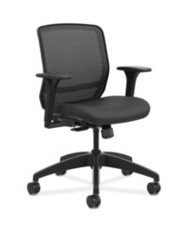 HON Quotient Mid-Back Mesh Work Chair Centurion Black Color Adjustable Arms Front Side View HQTMM.Y1.A.H.IM.CU10.SB