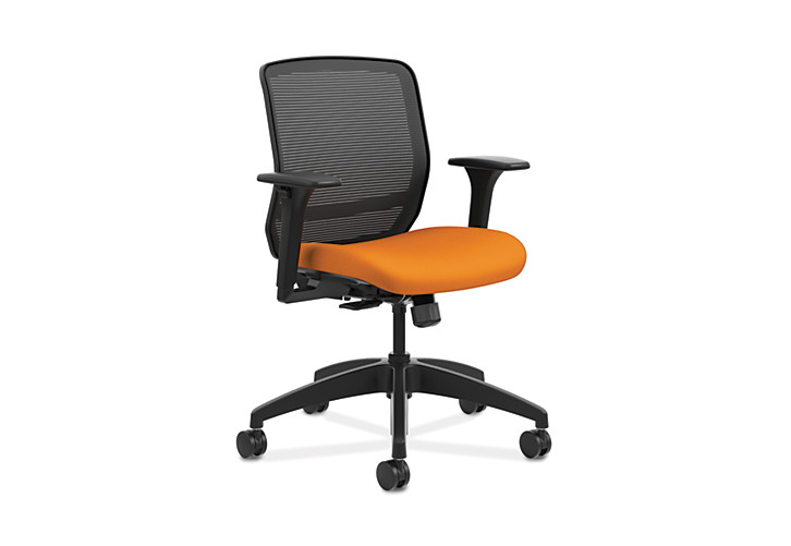 HON Quotient Mid-Back Mesh Work Chair Centurion Tangerine Color Adjustable Arms Front Side View HQTMM.Y1.A.H.IM.CU46.SB