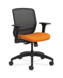 HON Quotient Mid-Back Mesh Work Chair Centurion Tangerine Color Adjustable Arms Front Side View HQTMM.Y1.A.H.IM.CU46.SB