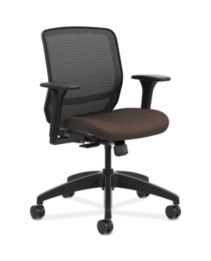 HON Quotient Mid-Back Mesh Work Chair Centurion Espresso Color Adjustable Arms Front Side View HQTMM.Y1.A.H.IM.CU49.SB