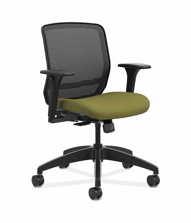 HON Quotient Mid-Back Mesh Work Chair Centurion Olivine Color Adjustable Arms Front Side View HQTMM.Y1.A.H.IM.CU82.SB