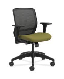 HON Quotient Mid-Back Mesh Work Chair Centurion Olivine Color Adjustable Arms Front Side View HQTMM.Y1.A.H.IM.CU82.SB
