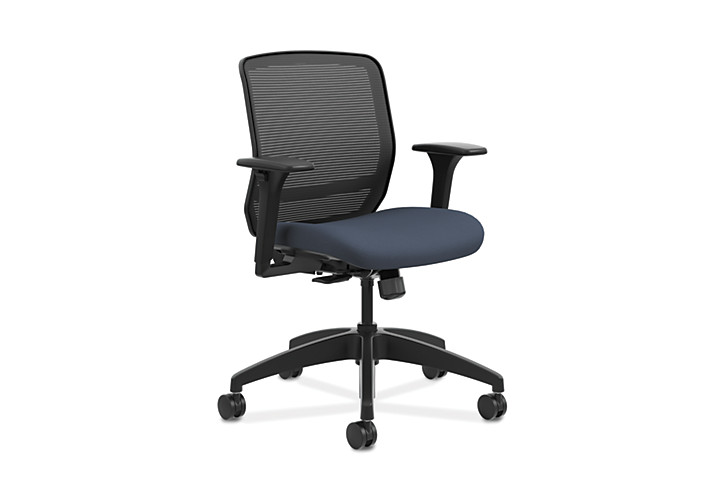HON Quotient Mid-Back Mesh Work Chair Centurion Cerulean Color Adjustable Arms Front Side View HQTMM.Y1.A.H.IM.CU90.SB