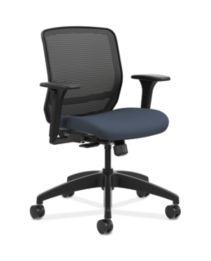 HON Quotient Mid-Back Mesh Work Chair Centurion Cerulean Color Adjustable Arms Front Side View HQTMM.Y1.A.H.IM.CU90.SB