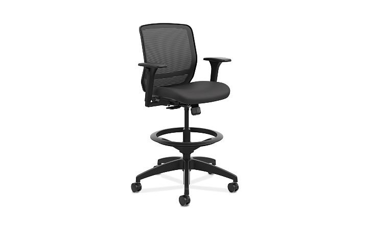 HON Quotient Mid-Back Task Stool Centurion Black Color Adjustable Arms Front Side View HQTSM.Y1.A.H.IM.CU10.SB
