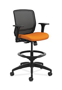 HON Quotient Mid-Back Task Stool Centurion Tangerine Color Adjustable Arms Front Side View HQTSM.Y1.A.H.IM.CU46.SB