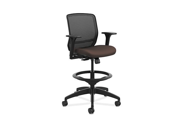 HON Quotient Mid-Back Task Stool Centurion Espresso Color Adjustable Arms Front Side View HQTSM.Y1.A.H.IM.CU49.SB