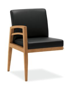 HON Riley End Gang Leg Chair Black Front View HWGN4.C.UR10