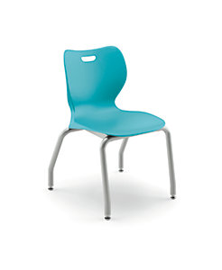 "HON Smartlink 16"" High 4 Leg Chair Light Blue Front Side View HSS4L-16B.C.CP.PLAT"