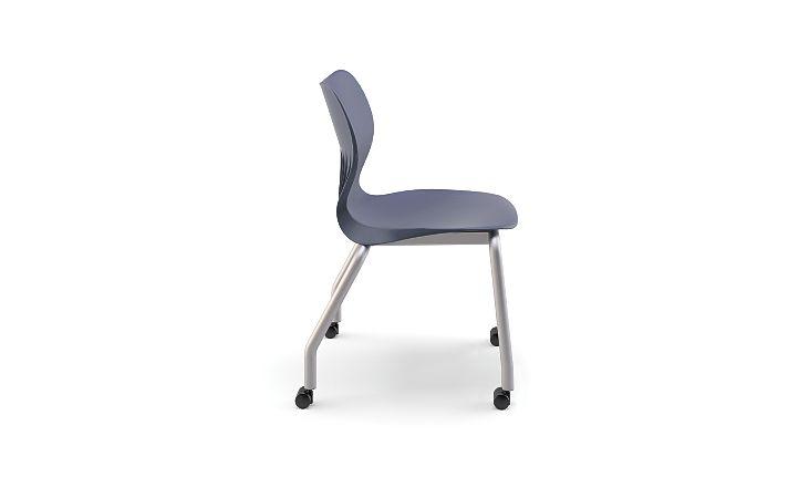 "HON Smartlink 16"" High 4 Leg Chair Dark Blue Side View HSS4L-16B.C.RE.PLAT"