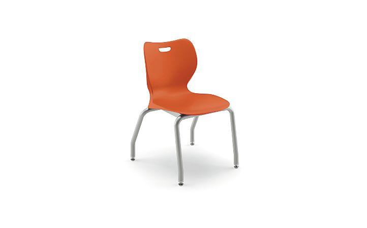"HON Smartlink 16"" High 4 Leg Chair Orange Front Side View HSS4L-16B.C.RG.PLAT"