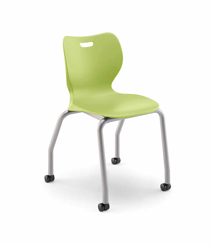 Hon Smartlink 18 H 4 Leg Chair Lime Green Front Side View Hss4l