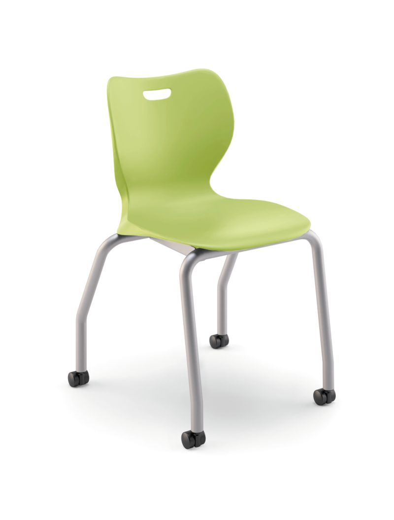 "HON Smartlink 18""H 4-Leg Chair Lime Green Front Side View HSS4L-18B.C.LM.PLAT"
