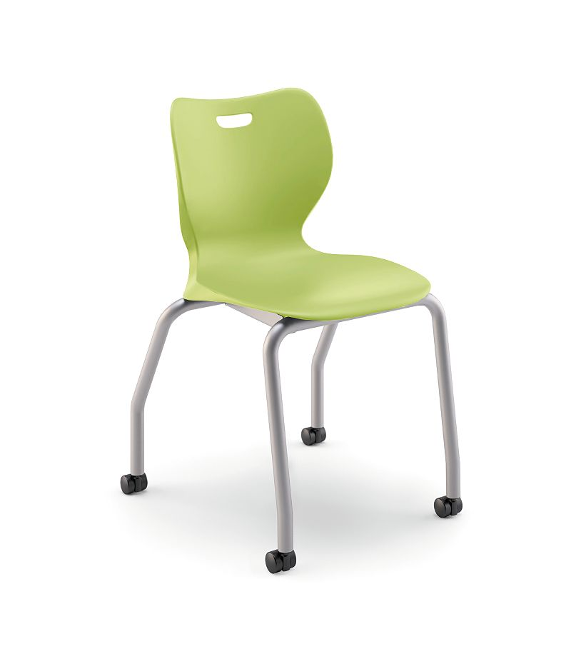 "HON Smartlink 18""H 4-Leg Chair Lime Green Front Side View HSS4L-18B.C.LM.PLAT"