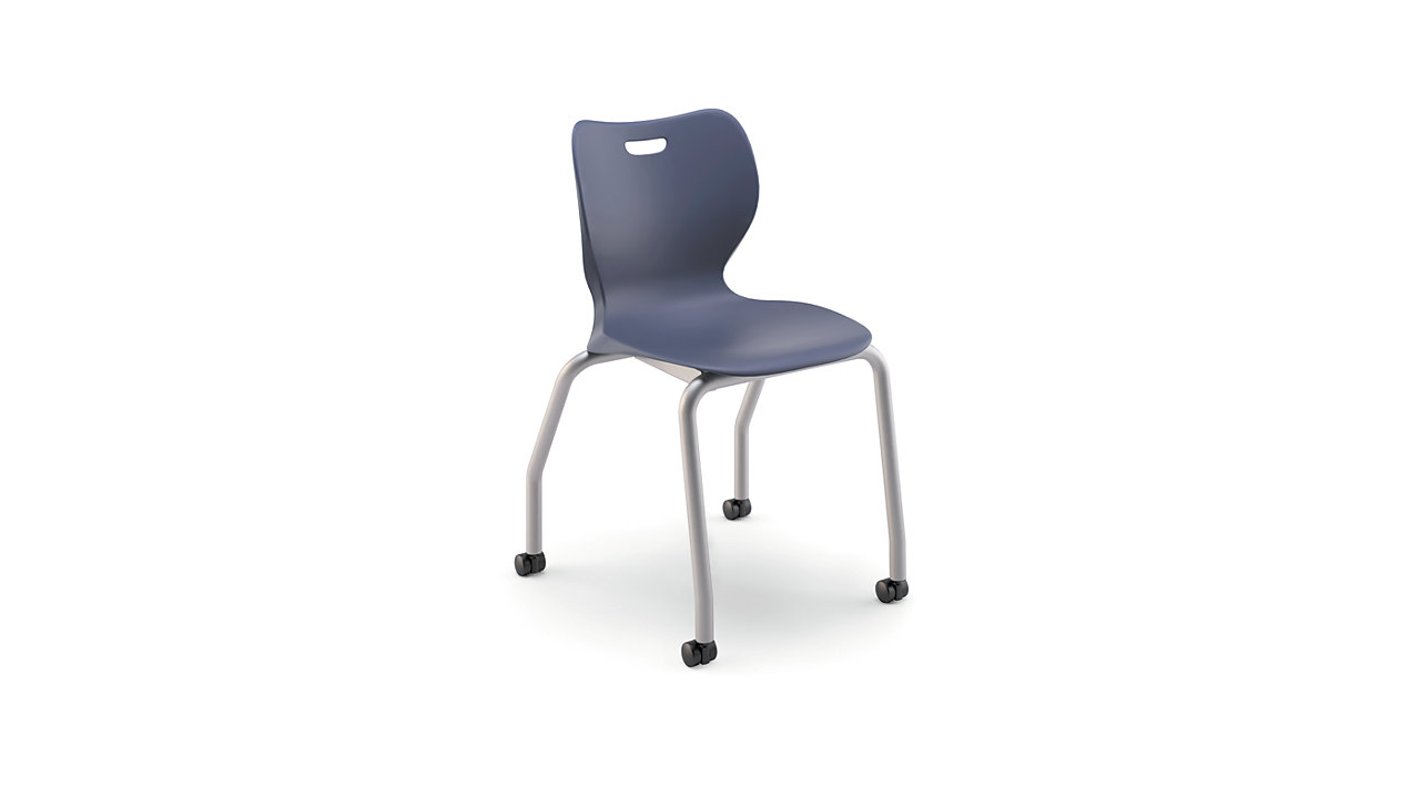 "HON Smartlink 18""H 4-Leg Chair Dark Blue Front Side View HSS4L-18B.C.RE.PLAT"