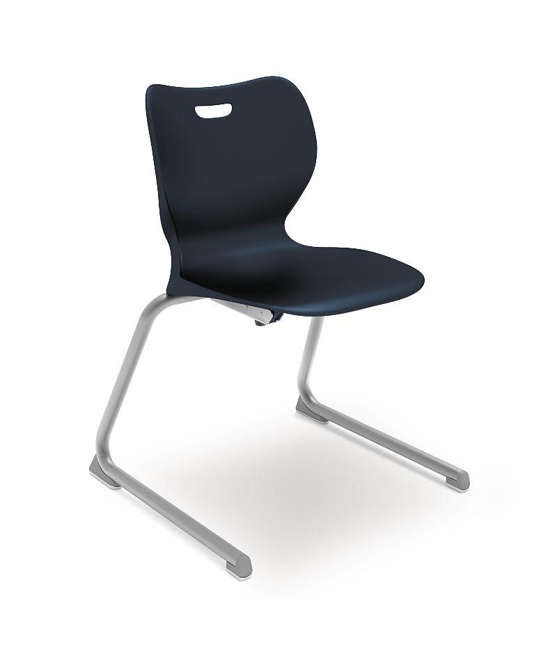 "HON Smartlink 18""H Cantilever Base Chair Dark Blue Front View HSSCL-18B.E.RE.PLAT"
