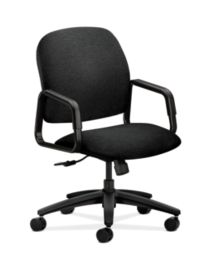 HON Solutions 4000 Series High-Back Chair Confetti Black Hard Caster Front Side View H4001.H.AB10.T