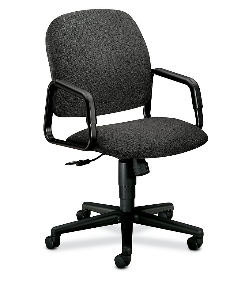 HON Solutions 4000 Series High-Back Chair Confetti Gray Hard Caster Front Side View H4001.H.AB12.T
