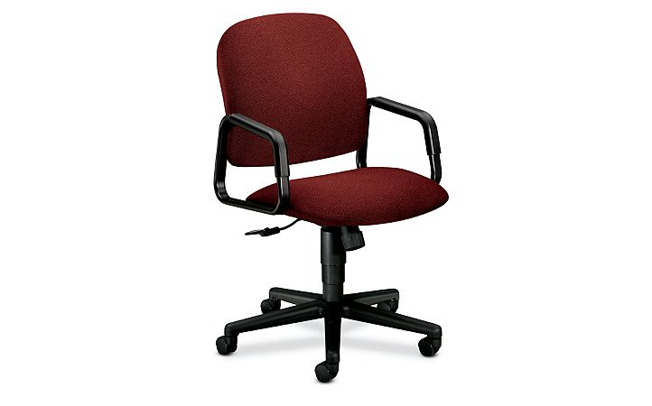 HON Solutions 4000 Series High-Back Chair Confetti Burgundy Hard Caster Front Side View H4001.H.AB62.T
