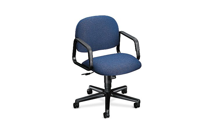 HON Solutions 4000 Series Mid-Back Task Chair Confetti Blue Hard Caster Front Side View H4002.H.AB90.T