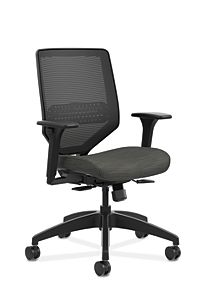 HON Solve Mid-Back Task Chair with Knit Mesh Back Black Adjustable Arms Front Side View HSLVMM.Y1.A.H.IM.COMP10.BL.SB